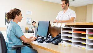 Medical practice customer service desk.