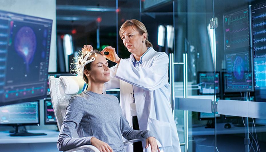 Doctor performing an EEG.