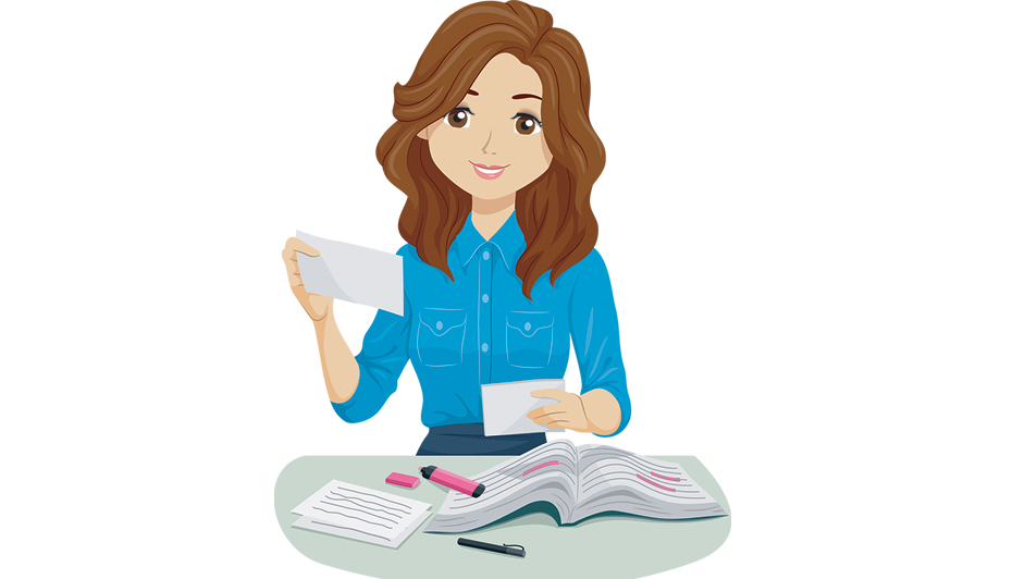 Cartoon woman studying with book and flashcards.