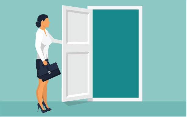Graphic of professional woman opening door