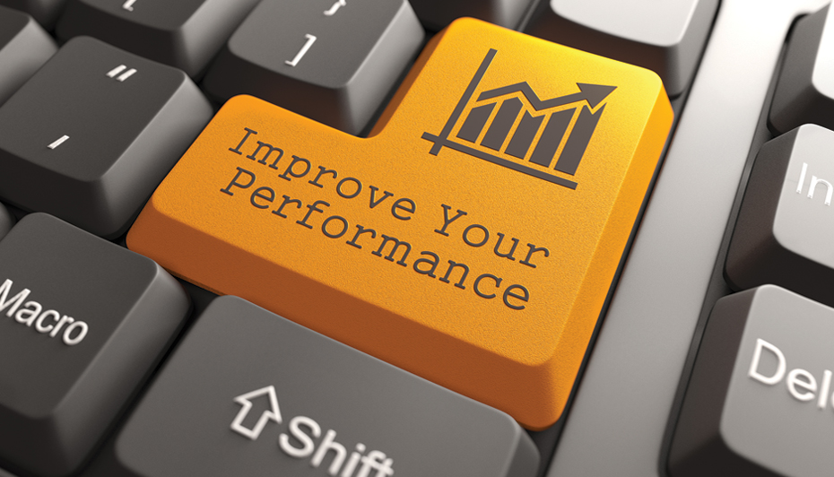 "Keyboard key that says ""improve your performance"""