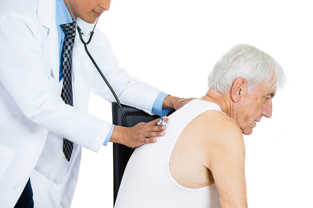 doctor listening to chest for COPD