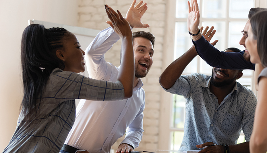 Work team relationship high fives