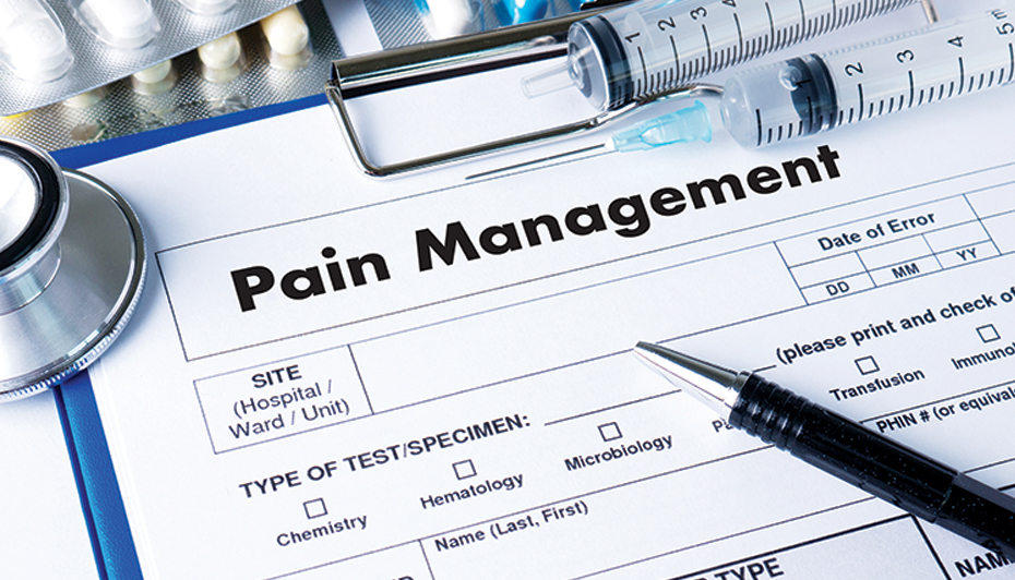 Pain management form on clipboard